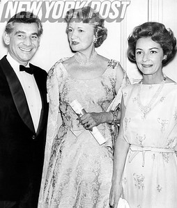 Leonard Bernstein and his wife, Felicia, attend a benefit concert for the Pension Fund. 1961