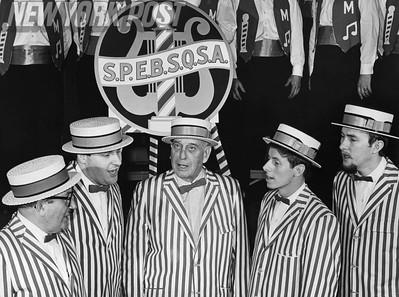 Barbershop quartet, The Manhattan Skylines, performs with Bob Moses. 1967