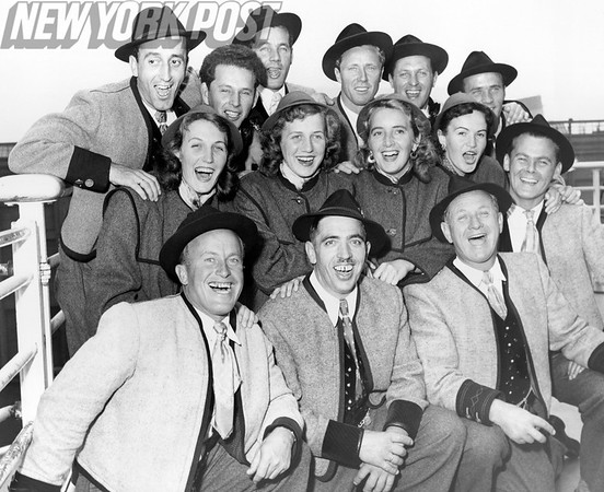 SS United States Arrival w the Gay Tyroliers, singers and dancers from the Tyrolean Alps. 1954