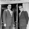 The National Enquirer owner, Generoso Pope, Jr, and lawyer John Miller before going to trial. 1957