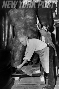 "Mr and Mrs Saul Baizerman work on the famous ""The Miner"" sculpture. 1948"