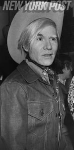 Eccentric Pop Artist Andy Warhol in his cowboy duds. 1971
