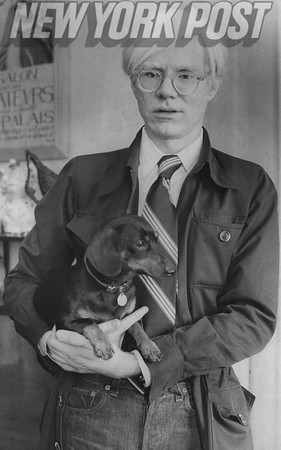 Pop Art figure, Andy Warhol and his dog Archie. 1974