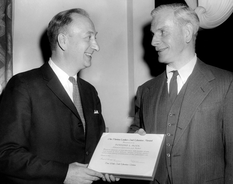 The Florina Lasker Civil Liberties Award was Presented to Herbert L. Block by Charles A. Siepmann. 1960