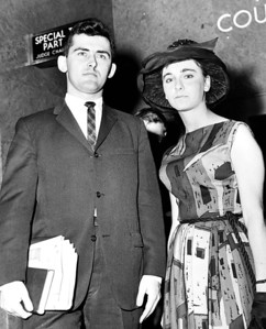 At Brooklyn Supreme Court -- Photo shows Howard glen Carr. The St. John's U. Student, who, with his wife, was Expelled from the university for being married, shown with a friend, miss jean Catto, a witness to the civil and religious weddings of Howard and his wife. June 01, 1962.  (Photo by Barney Stein/New York Post/Photo Archives, LLC )