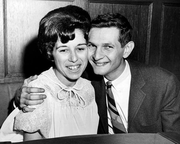 Parents of quadruplets Martin Bracker and wife Rhado at a press conference at the Columbia Presbyterian Hosp. October 31, 1963.
