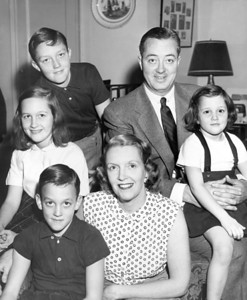 Fire commissioner, Edward F. Cavanagh, JR. with wife and children, Anthony, 8 years; Edward F. 3rd, 12 years; Nannette, 10 years; and Mae, 4 years old. March 27, 1956.  (Photo by Anthony Calvacca/New York Post/Photo Archives, LLC )