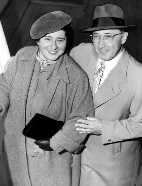 American actress, screenwriter and producer, Gertrude Berg with her husband, Lewis. 1951
