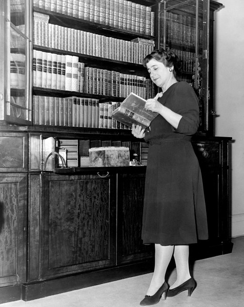 Gertrude Berg does her research. 1944