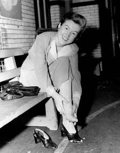 Police woman Katherine Bergin after a long work day. 1945