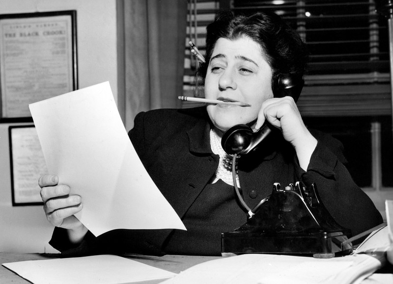 Gertrude Berg, American actress, screenwriter and producer, at work. 1949