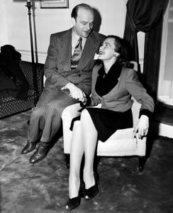 Ventriloquist, Edgar Bergen, with his new bride, Frances. 1946