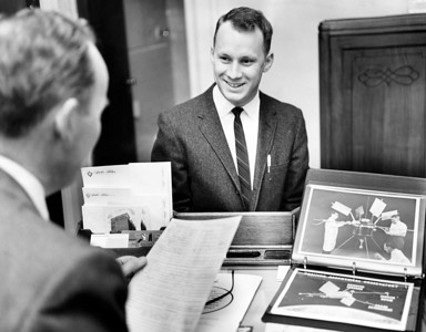 John P. Soden expert from the Goddard Space Flight Center at Greenbelt Maryland, interviews an applicant Harvie Waff. January 29, 1962. (Photo by William N. Jacobellis/New York Post/Photo Archives, LLC )