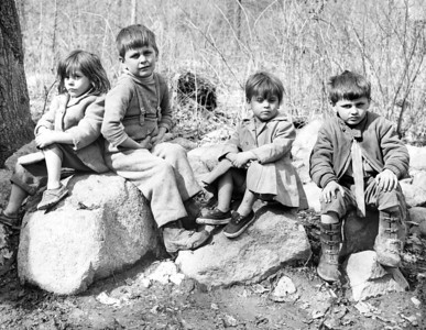 The children of Fred and Etta Conklin enjoy the outdoors at their home in the Ramapo Mountains, Rockland County, NY. 1960