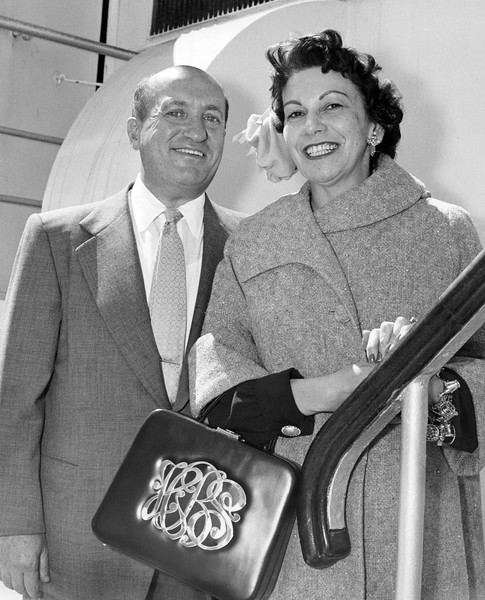 Mr. and Mrs. Harry Brandt as they sailed today. He is president of Brandt enterprises. 1955