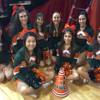 Harlingen High School South Cheerleaders spreading their spirit for the Lady Hawks Basketball Game