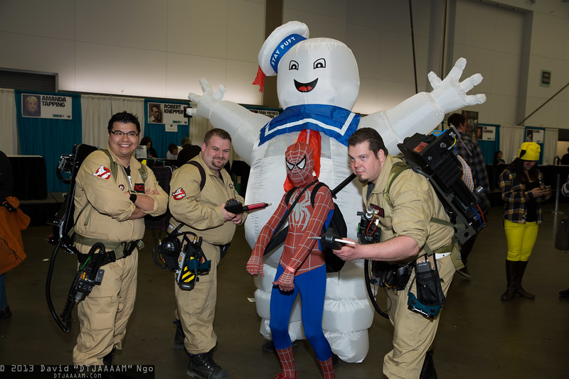 Ghostbusters, Stay Puft Marshmallow Man, and Spider-Man