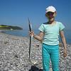 Rebeccas første fisk: hornfisk fra Jernhatten maj 2008