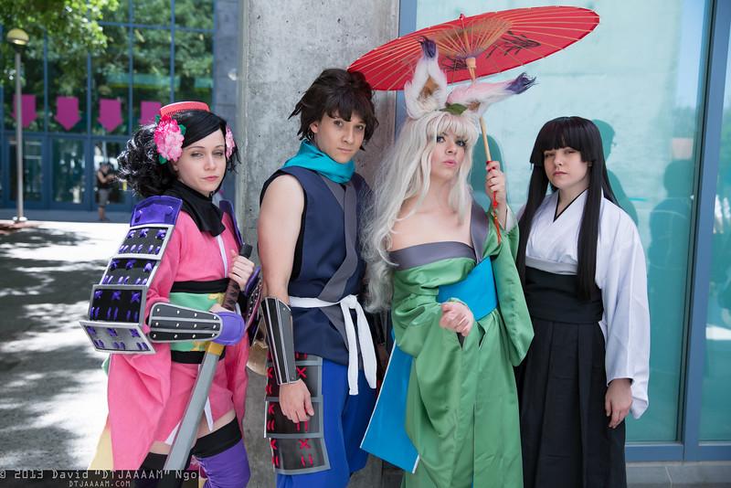 Momohime, Kisuke, Yuzuruha, and Torahime