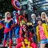 Captain Marvel, Captain America, Iron Man, Spider-Woman, Edwin Jarvis, Jubilee, and Storm