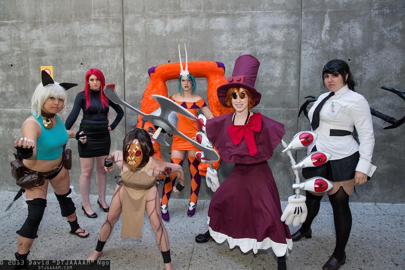 Ms. Fortune, Parasoul, Painwheel, Cerebella, Peacock, and Filia