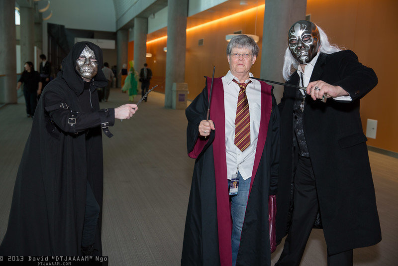 Bellatrix Lestrange, Harry Potter, and Lucius Malfoy