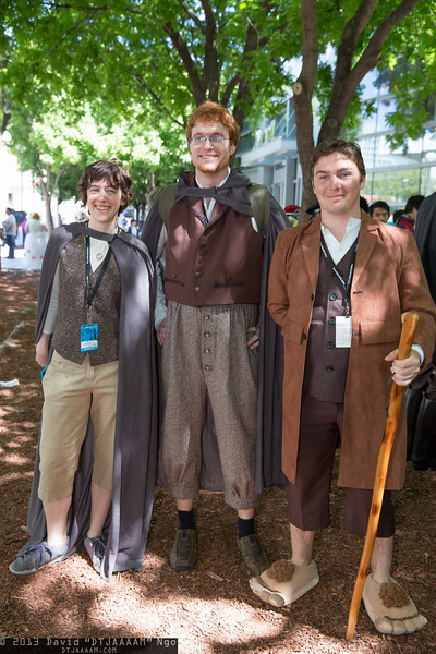 Frodo Baggins, Samwise Gamgee, and Bilbo Baggins