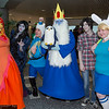 Flame Princess, Marceline, Finn, Ice King, Marshall Lee, Fionna, and Gunter