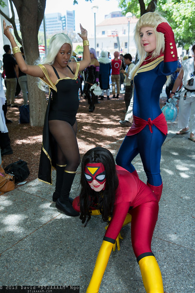 Storm, Spider-Woman, and Captain Marvel