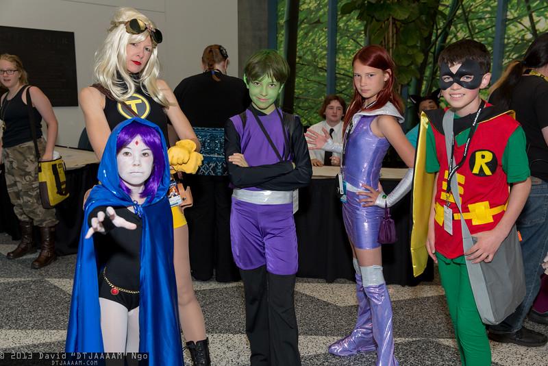 Raven, Terra, Beast Boy, Starfire, and Robin