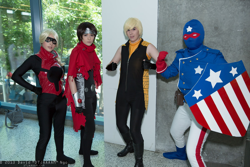 Stature, Wiccan, Hulkling, and Patriot