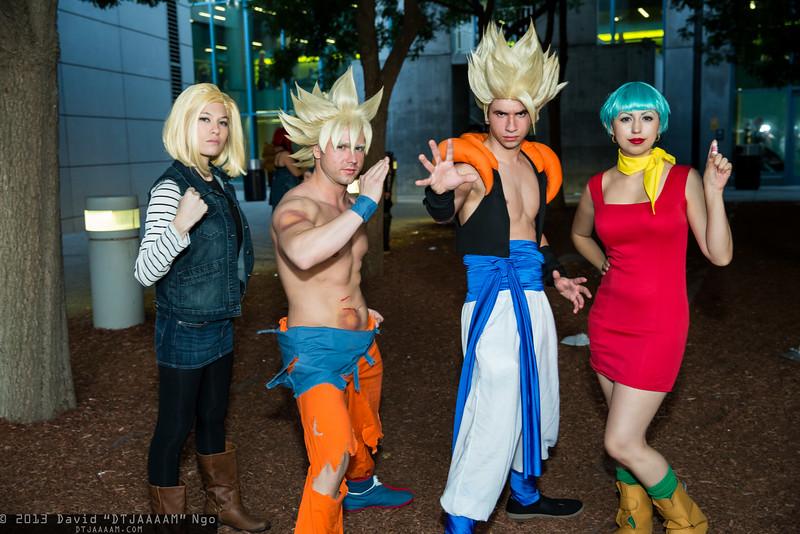 Android 18, Goku, Gogeta, and Bulma