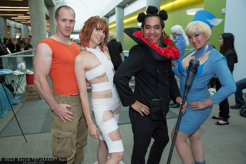 Korben Dallas, Leeloo, Ruby Rhod, and VIP Stewardess