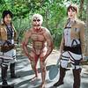 Eren Jaeger, Armored Titan, and Sasha Blouse