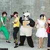 Pantyhose Taro, Ryoga Hibiki, Genma Saotome, Akane Tendo, and Ranma Saotome