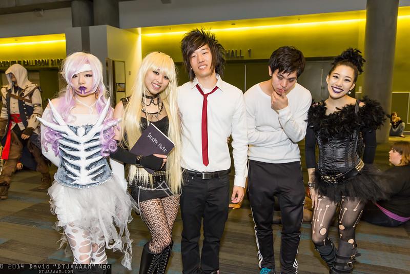Rem, Misa Amane, Light Yagami, L, and Ryuk