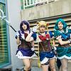 Sailor Saturn, Sailor Moon, and Sailor Neptune