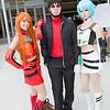 Asuka Langley Soryu, Gendo Ikari, and Rei Ayanami
