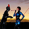 Mistress Tokyo training Rubber Bunny to be a latex Pony.