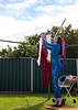 Emily Marilyn Hanging out the washing on her visit to Perth, Wesern Australia.