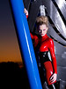 Rachael in red latex catsuit at the Water Dance