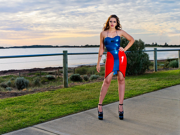 Metallic Blue and semi-transparent red dress with added spaghetti shoulder straps