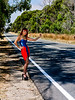 Metallic Blue and semi-transparent red dress.