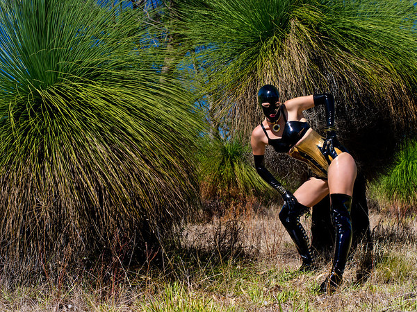 The stunning Rubber Bunny in Black and Gold latex from Metamorphis Latex