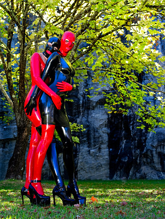 Rubber Bunny (Black Dress, Red Hood) with Miss Boo at Wellington Dam. All latex, shoes and boots supplied by Warped Photography.