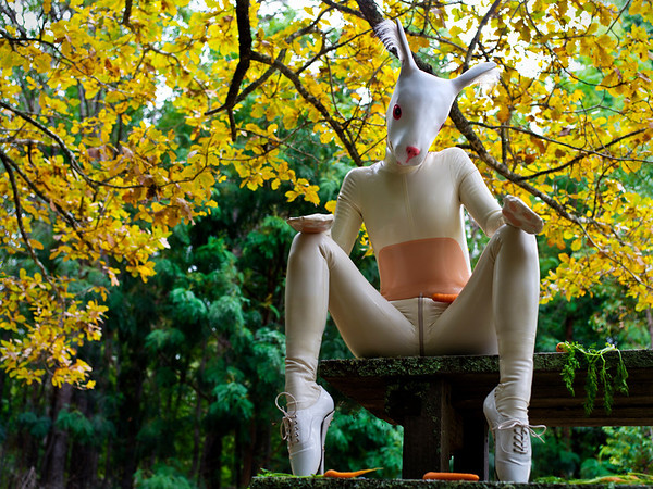 Rubber Bunny in the Forrest. All latex, accessories and props supplied by Warped Photography.
