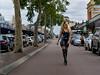 Zoe in latex walks the streets of Leederville