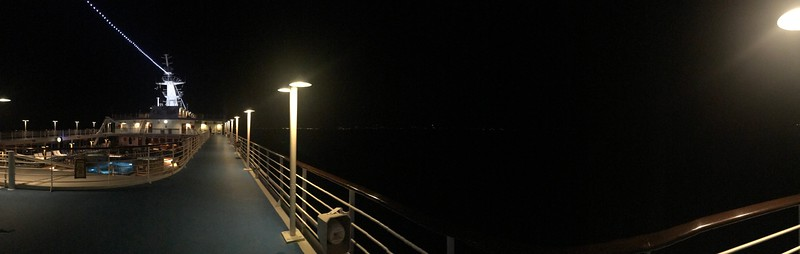 Walking on the exercise deck before sunrise while approaching Penang, Malaysia