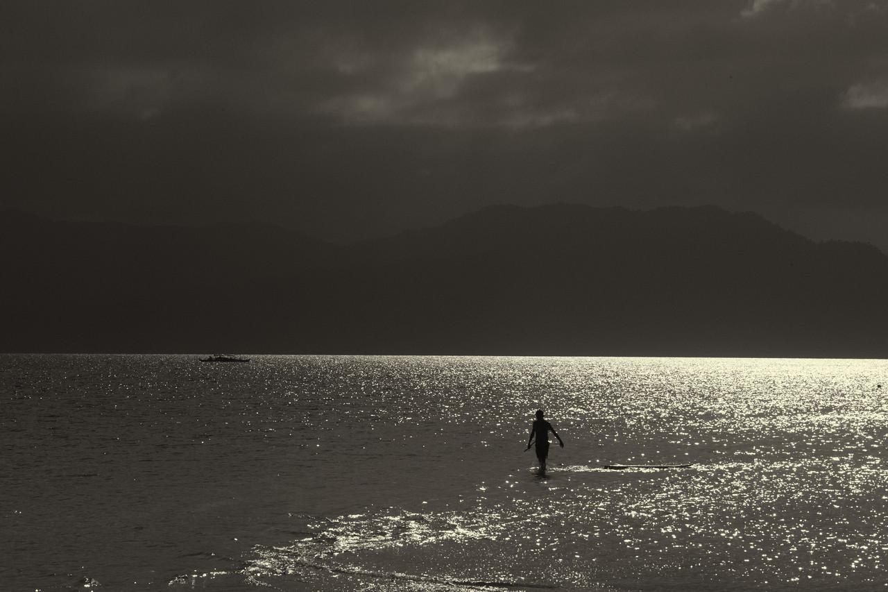 Strolling through silvery sea