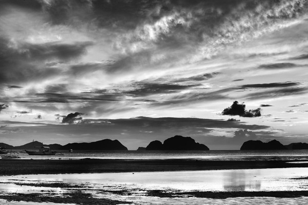 Monochrome islands and skies